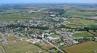 Lincoln, New Zealand - Looking southwest across Lincoln from the air, December 2005