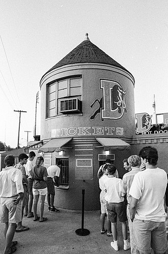 Durham Athletic Park - Image: Line for tickets at Durham Athletic Park 1992