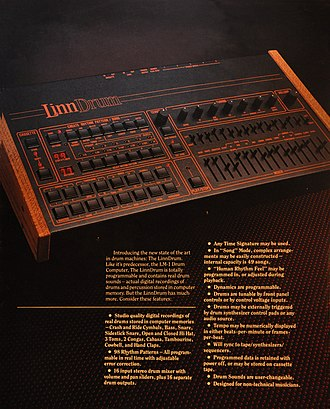 LinnDrum - Image: Linn Drum digital drum machine brochure page 1