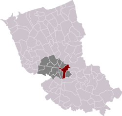Location of Cassel in the arrondissement of Dunkirk
