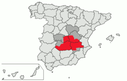 In red, location of the natural region of La Mancha. In dark gray, present-day Castilla–La Mancha autonomous community territories not included in historical La Mancha.