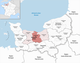 Location within the region Normandy