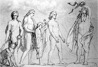 Hel (being) - A depiction of a young Hel (center) being led to the assignment of her realm, while her brother Fenrir is led forward (left) and Jörmungandr (right) is about to be cast by Odin (1906) by Lorenz Frølich.