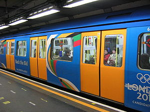 Bids for the 2012 Summer Olympics - A London Underground train decorated to promote London's Olympic bid.
