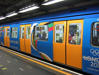 London bid for the 2012 Summer Olympics - A London Underground train decorated to promote London's olympic bid – this coincided with plans for investment the city's public transport network