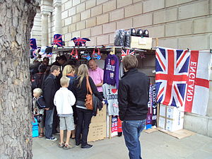 A London tourist stall on Whitehall selling fl...