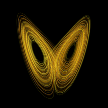 This image from wiki shows the plot of a Lorenz attractor, one of the first chaotic systems to be studied.