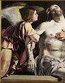 Lorenzo lotto, polittico di san domenico di recanati, 1508, 02 pietà 2 angelo.jpg