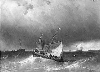 Woelige zee, op de voorgrond een vissersschip