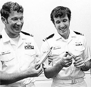 """William P. Driscoll - June 1972 - Lieutenant (JG) William P. Driscoll (right) and Lieutenant Randall H. Cunningham in a ceremony honoring them, the Navy's only Vietnam War air """"Aces"""""""
