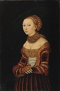 Lucas Cranach d.Ä. - Bildnis einer jungen Frau (1525, Sinebrychoffin Taidemuseo, Helsinki).jpg