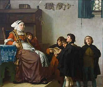 Ferdinand Pauwels - Young Martin Luther and Carolers Sing for Mrs. Cotta in Eisenach (1872)
