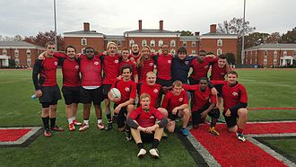 College rugby union in the United States - Image: Lynchburg College team photo after defeating Emory & Henry College, 35 15. Fall 2015