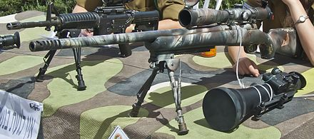 IDF M24 sniper rifle, colored in camouflage scheme. M24-Israel63pic 0017a.jpg