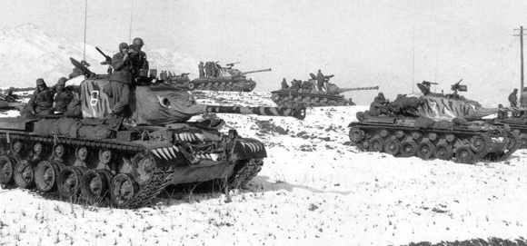 U.S. M46 Patton tanks, painted with tiger heads thought to demoralize Chinese forces M46 tiger paint.png
