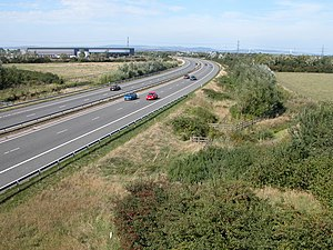 M49 motorway - Looking north at Dyer's Common with the Second Severn Crossing in the background.