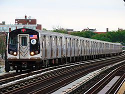 An R160A train on the F line, arriving at Avenue P station