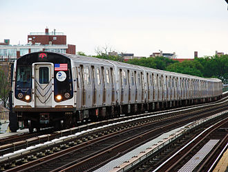 F (New York City Subway service) - A train made of R160s in F service arriving at Avenue P, bound for Manhattan and Queens.