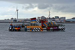 MV Snowdrop - MV Snowdrop in dazzle livery, in May 2015, departing from Seacombe
