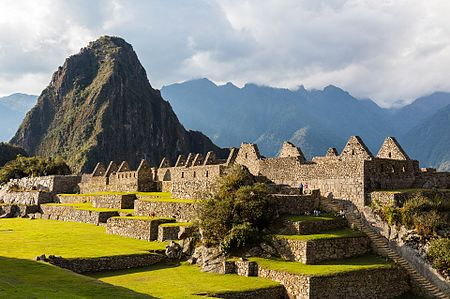 View of the ancient houses of Machu Picchu houses, Urubamba Province, Cusco Region, today Peru.