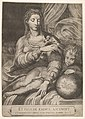 Madonna of the Rose, the Madonna reaches for a rose upheld by the child, who reclines on a drapery and rests his left arm on a globe MET DP831924.jpg