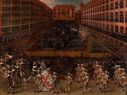 Auto de Fe in Toledo, Spain 1651. Civil officials oversaw the corporal punishment of those convicted by the Inquisition in public ceremonies. Madrid School - Auto-da-fe - Google Art Project.jpg