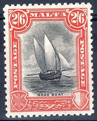 Gozo boat - Gozo boat on a 1926 Maltese stamp