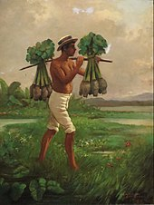 A painting of a man carrying taro by a yoke.