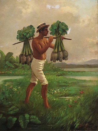 Taro, or in Hawaiian kalo, was one of the primary staples in Ancient Hawaii and remains a central ingredient in Hawaiian gastronomy today. Man with a Yoke Carrying Taro by Joseph Strong, oil on canvas board, 1880, Honolulu Museum of Art, accession 12692.1.JPG