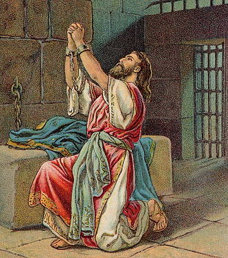 Manasseh of Judah - Manasseh's repentance; as in 2 Chronicles 33:1-13 (illustration from a Bible card published in 1904 by the Providence Lithograph Company)