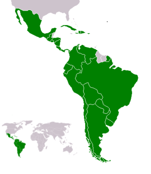 Latin Americans - Latin American countries (green) in the Americas