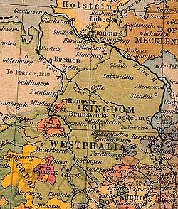 The Kingdom of Westphalia (green) after territorial cessions to France in ۱۸۱۰