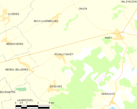 Mapa obce Rouilly-Sacey