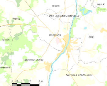 Map of the commune of Confolens