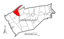 Map of Cumberland County, Pennsylvania highlighting Lower Mifflin Township