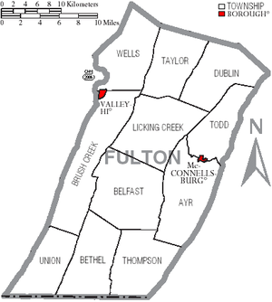 Fulton County, Pennsylvania - Map of Fulton County, Pennsylvania with Municipal Labels showing Boroughs (red) and Townships (white).