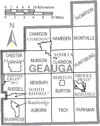 Geauga County, Ohio - Map of Geauga County, Ohio with Municipal and Township Labels