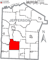Map of Jefferson County, Pennsylvania, highlighting Oliver Township