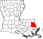 State map highlighting Saint Tammany Parish