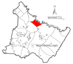 Map of Westmoreland County, Pennsylvania highlighting Loyalhanna Township