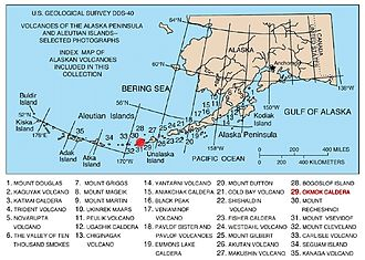 Volcanic arc - Image: Map of alaska volcanoes okmok
