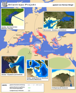 Karte des Atlantropa-Projektes