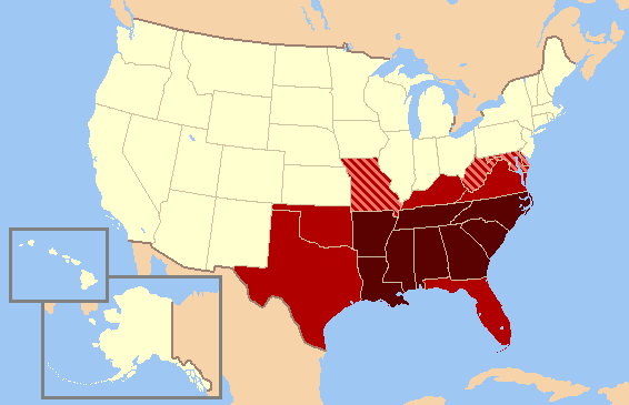 Map of the Southern United States modern definition