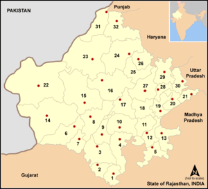 Bharatpur district - Location of Bharatpur in Rajasthan: Number 30 on the eastern edge.
