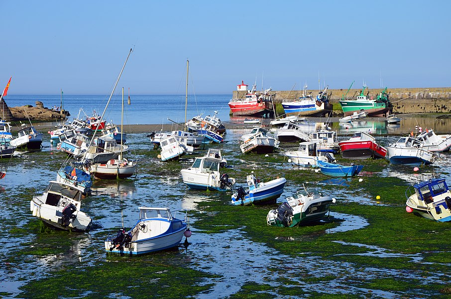 Boats at low tide in the harbour of Barfleur (Basse-Normandie, France)