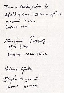 Marburger Religionsgespräch, Unterschriften: Oekolampad, Zwingli, Bucer, Hedio, Luther, Jonas, Melanchthon, Osiander, Agricola, Brenz (Quelle: Wikimedia)