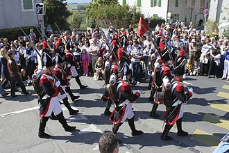 "Russin - Marching ""troops"" in the Russin grape harvest festival"