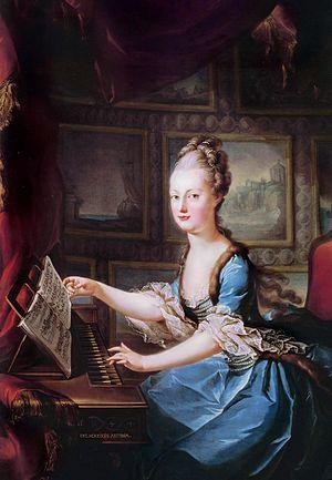 Maria Antonia playing the clavichord