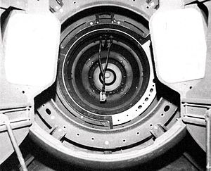 Mark 5 nuclear bomb - View looking into the nose of a Mark 5, where the fissile pit and final explosive charge segment would be inserted.