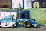 Mark Blundell - Ligier JS39 during practice for the 1993 British Grand Prix (33686685295).jpg